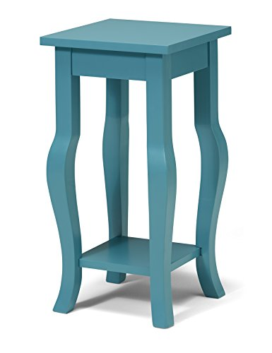 Kate and Laurel Lillian Wood Pedestal End Table with Curved Legs and Shelf, Teal
