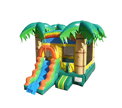 HeroKiddo Tropical Forest Bouncer with Slide & Basketball Hoop, 100% Commercial PVC Vinyl, 12 X 18'. (Blower Included) Pool Sold Separately