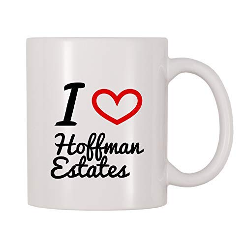 Queen54ferna I Love Hoffman Estates - Tazas de café de cerámica para...