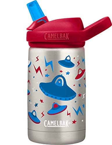 CamelBak Eddy+ Kids Water Bottle, Vacuum Insulated Stainless Steel with Straw Cap, 12 oz, UFO's - Spill-Proof When Open, Leak-Proof When Closed (2284102040)