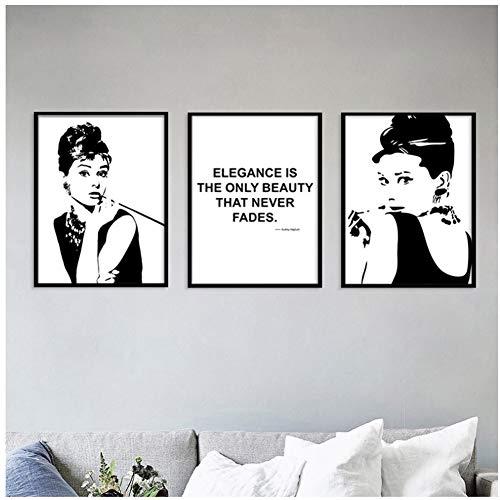 A&D Moderne Schwarz Weiß Wandkunst Leinwand Gemälde Audrey Hepburn Nordic Poster und Drucke Wandbilder für Wohnzimmer Dekoration-50x70cm Kein Rahmen