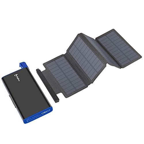 BigBlue Caricabatterie solare da 25000 mAh, batteria esterna con 4 pannelli solari