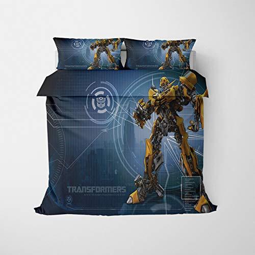YZDM – Juego de cama Transformers, 2/3 piezas, 3D, estampado de microfibra suave con funda de edredón y funda de almohada, para adultos y adolescentes (E,135 x 200 cm)