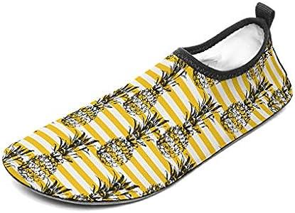 Wraill - Zapatillas de playa, zapatos de agua, calcetines, rayas amarillas y frutas, diseño de piña, zapatos de surf para deportes acuáticos, color blanco 46/47