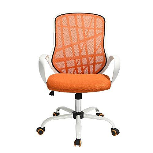 HOMEMAKE FURNITURE Silla de Oficina Ajustable de Muebles caseros Naranja con Ruedas para oficinas, escritorios, hogares y Negocios,...