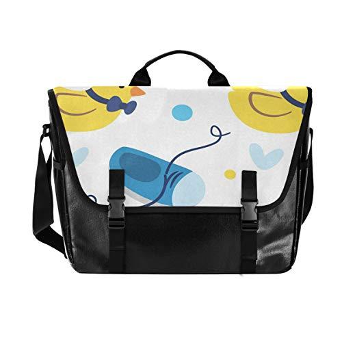 MONTOJ Laptop-/Kuriertasche für Babyschuhe, 39,6 cm (15,6 Zoll) Computer-Tasche, Segeltuch und Leder, Schultertasche, Aktentasche
