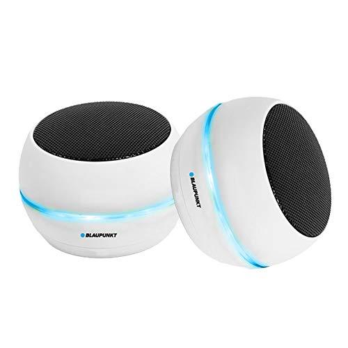 BLAUPUNKT- MP3030-112 LED-Mini-Lautsprecher, TWS, Bluetooth, 6 W (3WX2) Weiß, 2 Stück