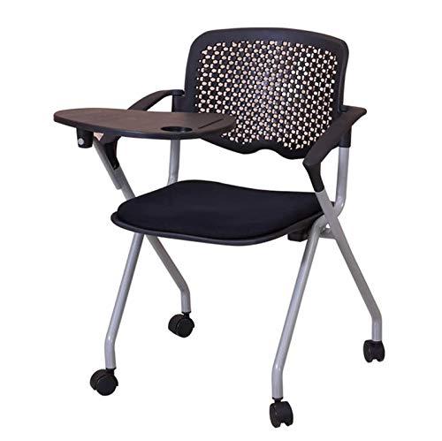 JJSFJH Las sillas de oficina multifuncional plegable silla de oficina, sillas de entrenamiento con Reunión del tablero de escritura plegable de una sola pieza con silla de Noticias de ruedas grandes t