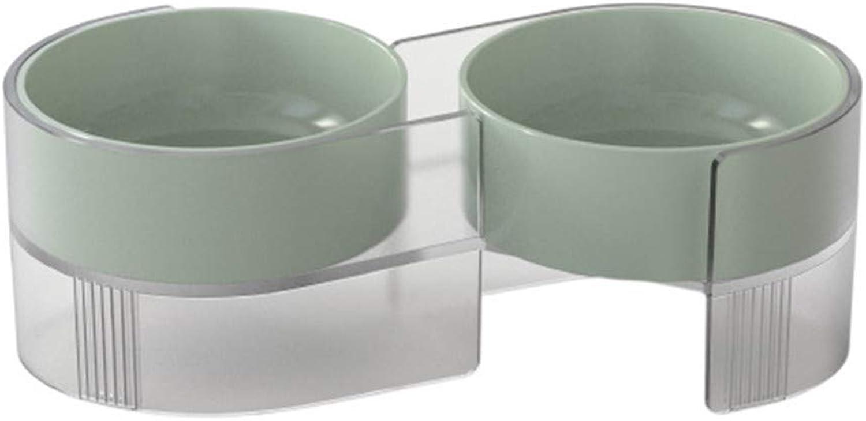 LINGGE pet feeder feeding bowl Anticervical tilting Tilting feeding water detachable Cat bowl set