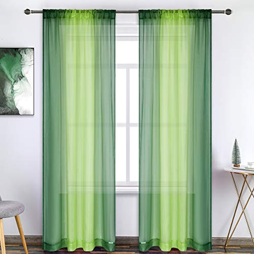 Dark Green Lime Green Ombre Sheer Curtains Hunter Green 72 Inch Length Voile Drapes Reversible Gradient Rod Pocket Sheer Curtains for Living Room Kids Room 2 Panels 52X72 Inch