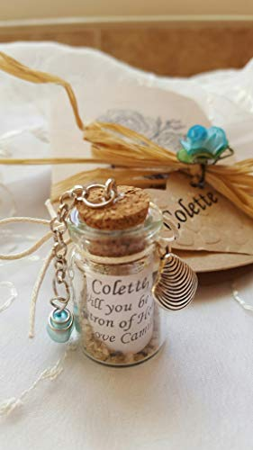Beach Bridesmaid Proposal Blue Pearl Personalized Message in a Bottle Mini Bottle, Sea, Sand, Charm, Shell, Starfish, Seahorse Glass Vial, Wedding, Favor, Vial Will You Be My Maid of Honor,