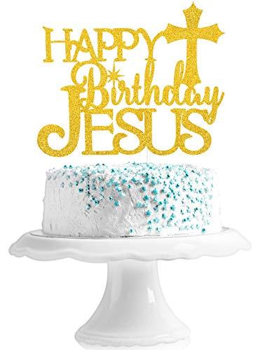 Happy Birthday Jesus Cake Topper - Christian Christmas Gold Glitter Bethlehem Star Cross Cake Supplies - Merry Christmas - Nativity Scene Jesus Birthday party Decoration