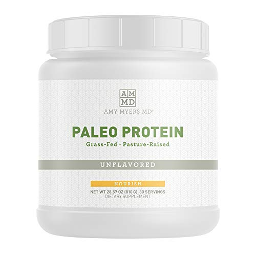 Unflavored Pure Paleo Protein by Dr. Amy Myers - Clean Grass Fed, Pasture Raised Hormone Free Protein, Non-GMO, Gluten & Dairy Free - 26g Protein Per Serving - Plain Shake for Paleo and Keto