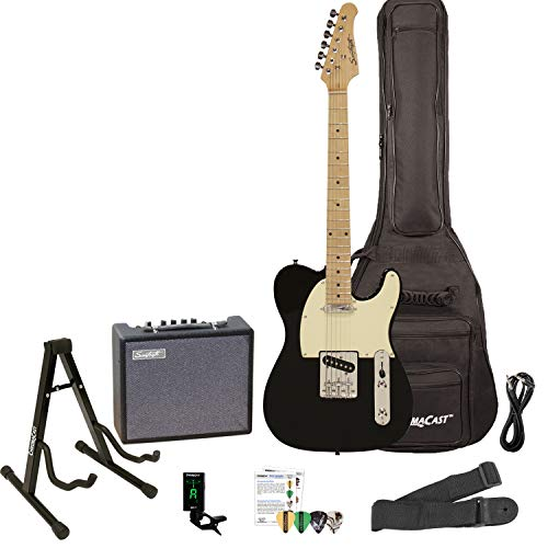 Sawtooth ET Series Electric Guitar Kit, Black with Aged White Pickguard - Includes 10W Amp and ChromaCast Accessories