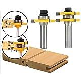 Corte, Accesorios para herramientas de perforación 1/2 pulgadas de la caña de lengüeta y ranura 3 Router dientes en forma de T de madera fresa 2pcs Set Bit