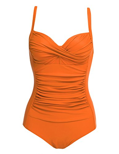 Ekouaer 50s Retro Ruched Mansfield Vintage One Piece Pin up Swimwear Swimsuits,Orange,X-Small