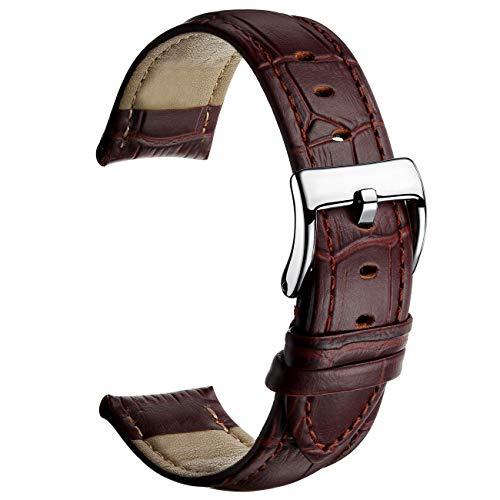 MEGALITH Correa Reloj de Cuero 16mm 18mm 20mm 22mm Banda de Reloj de Cuero Genuino para Hombres y Mujeres con Sebilla Sólida de Acero Inoxidable