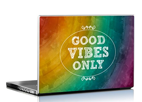 Seven Rays Good Vibes Only Laptop Skin Covers Fits for All Models for Screen Size Dimensions - 15 x 10 Inches