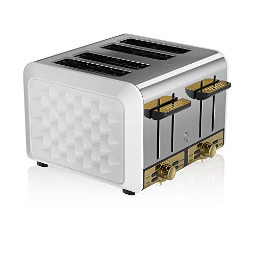 Swan Gatsby White and Gold 4-Slice Toaster, Variable Electronic Browning Controls, Matte White with Diamond Pattern Design and Gold Accents, ST14084WHTN