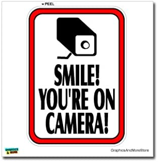 Graphics and More Smile You're On Camera Video Surveillance - Business Sign - Window Wall Sticker