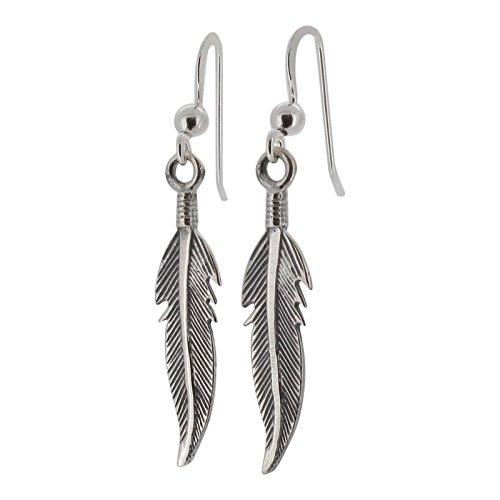 Pendientes para mujer, diseño de plumas, plata de ley, con detalles oxidados
