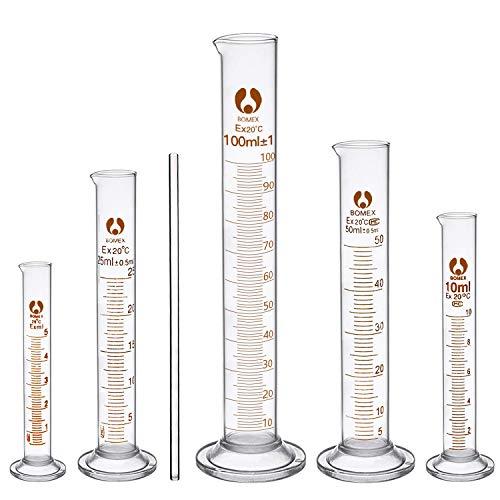 cococity 6 Pcs Cilindri Graduati in Vetro, Provette Graduate 5ml 10ml 25ml 50ml 100ml et Barra di Agitazione, Kit Accessori per Laboratorio, Chimica
