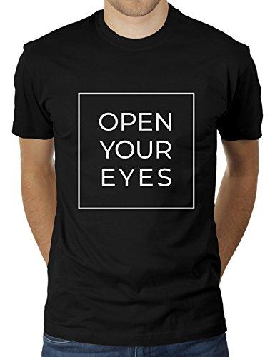 KaterLikoli Open Your Eyes - Camiseta para hombre Profundo Negro XL