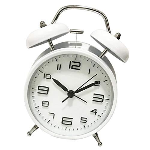 Alarma de Mesa analógica silenciosa de cabecera de 4 '' Twin Bell - Blanco, 17x12,5x6cm