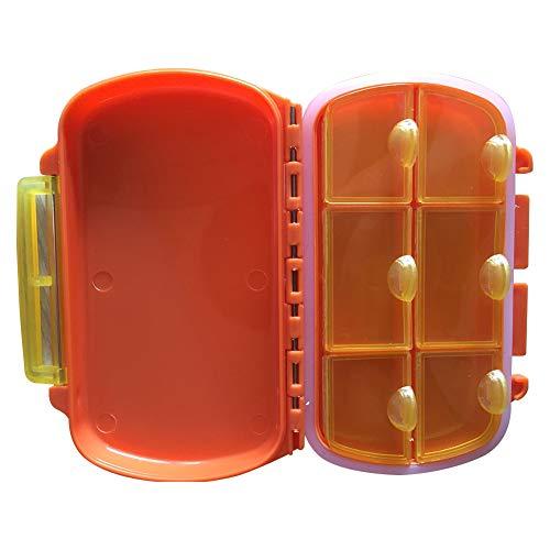 Ruikey Pillendose 7 Tage 6 Fächer,Tragbare Wasserdichte Pillenbox 2 Schichten Tablettendose Tabletten Box Medikamentenbox für Reise