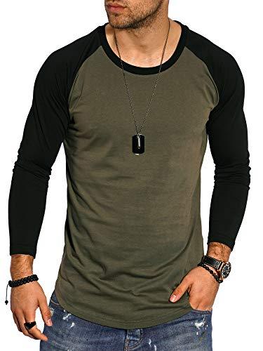 behype. Herren Oversize Longsleeve Langarm T-Shirt O-Neck Rundhals Ausschnitt 30-3752 Khaki-Schwarz M
