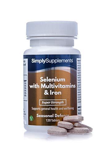 Selenio 220 mcg con Vitamina C, Multivitaminas y Hierro - ¡Bote para 4 meses! - Apto para vegetarianos - 120 Comprimidos - SimplySupplements