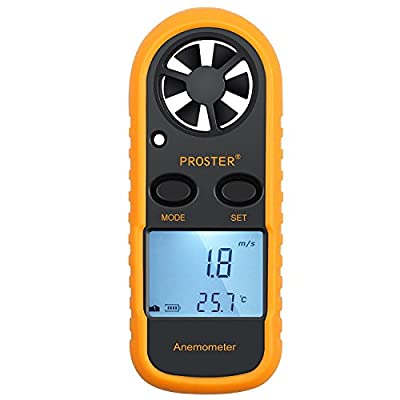 Anemometer Digital LCD Wind Speed Meter Gauge Air Flow Velocity Measurement Thermometer with Backlight for RC Drones Helicopter Windsurfing Kite Flying Sailing Surfing Fishing Etc from Proster