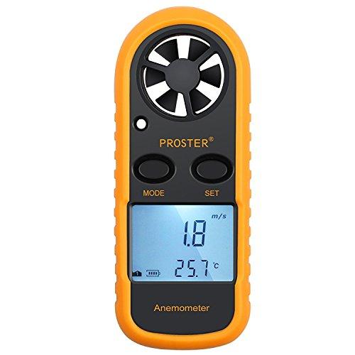 Proster Windmesser Digital LCD Wind Speed Meter Gauge Air Flow Geschwindigkeit Messung Thermometer mit Hintergrundbeleuchtung für Windsurfen Kite Flying Segeln Surfen Angeln uzw.