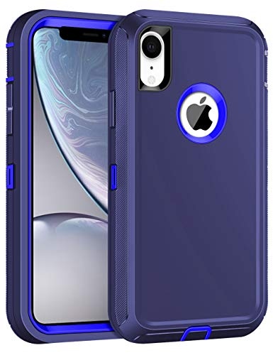 CHEERINGARY Case for iPhone XR Case Protective Shockproof Heavy Duty Anti-Scratch Cover iPhone XR Case for Men Women Full Body Protection Dust Proof Anti-Slip Cover for iPhone XR 6.1 inches Deep Blue