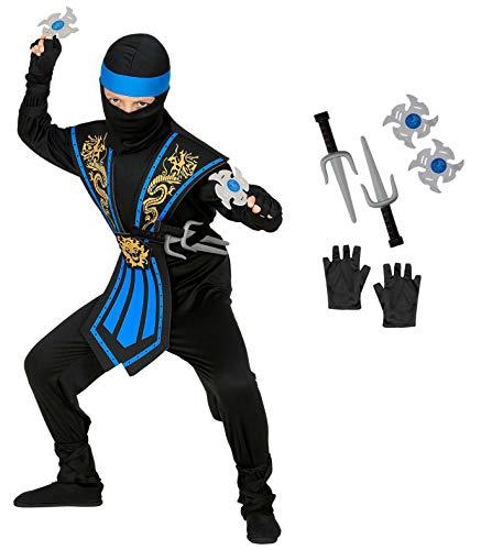 WIDMANN Disfraz infantil de ninja con armas, disfraz infantil 38657, negro y azul, guerrero, Japón, fiesta temática, carnaval, unisex, 140 cm