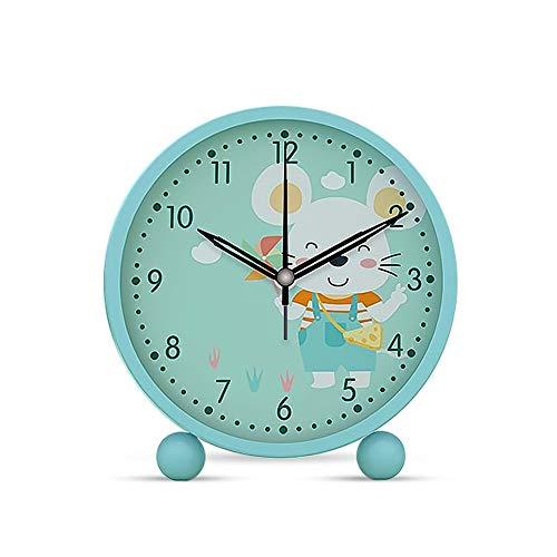 5 Pulgadas Relojes Despertadores, Despertador Analogico Silencioso Sin Tictaccon Luz Pequeño, Función Snooze Ratón, Despertador en Voz Alta Mesilla de Noche para Niños Dormitorio Oficina (Azul)