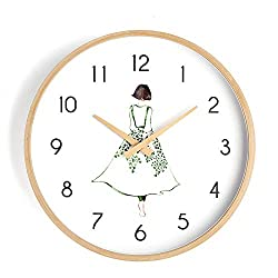 N /A Wall Clock 12 inch Girl Back Fresh Design Creative Nordic Modern Wooden Frame Wooden Battery-Powered Mute Simple Home Living Room