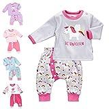 Baby Sweets 2er Baby-Set-Mädchen mit Hose & Shirt/Babykleidung Mädchen in Rosa & Grau/Baby-Erstausstattung im Einhorn-Motiv/Baby-Kleidung Neugeborenen-Set aus Baumwolle/Größe Newborn (56)