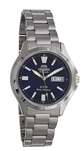 Orient RA-AB0F09L Men's Stainless Steel 3 Star Blue Dial Luminous Index Day Date Automatic Watch