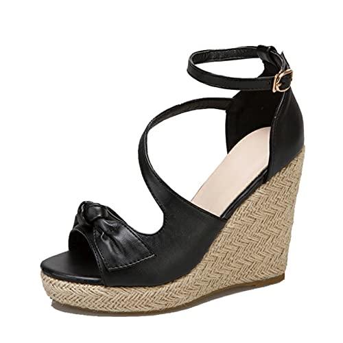 Sandalias de mujer de cuña de tacón alto de verano Gladiador estilo romano playa calzado de punta abierta calle Bowknot sandalias con hebilla de tobillo