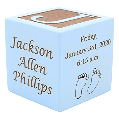 """Personalized Wood Baby Birth Block, Choose from 3 Sizes, New Baby Gifts, Gifts for Baby Boy, Newborn Gifts (2"""" Blue)"""