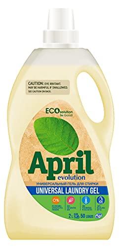 April Evolution EcoSolution, detergente líquido concentrado, alimentado por plantas, alto rendimiento en agua fría, botella 100% reciclable, HE
