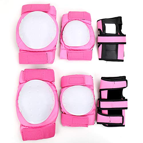 PiscatorZone Protective Gear Set Knee Pads Elbow Pads Wrist Guards for Skateboarding Roller Skating Cycling Bike BMX Bicycle Scootering 3Pairs (Pink, M)
