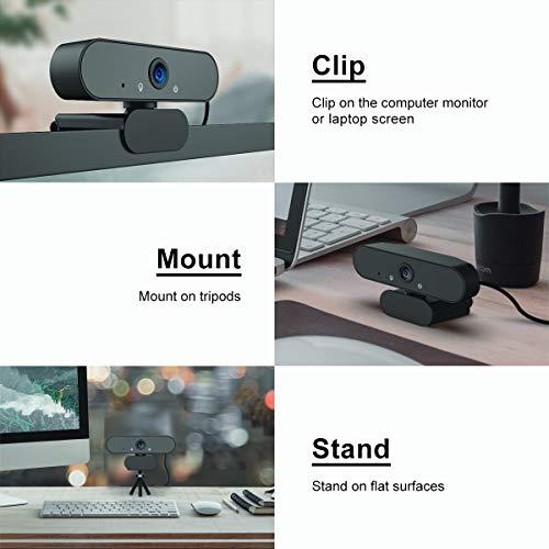 DINKALEN Webcam, Webcam 1080P Full HD Micrófono Integrado Cancelación de Ruido, Cámara Web Conecta y Reproduce con Corrección Automática de Poca Luz (Black) miniatura