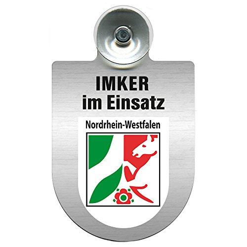 Einsatzschild mit Saugnapf - Imker im Einsatz 309382 incl. Regionenwappen nach Wahl Farbe Region Nordrhein-Westfalen