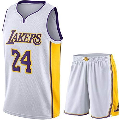 Maglie retrò Kobe Bryant Uomo NBA # 24 per Bambini, Gilet Lakers Fan Edition Abbigliamento Sportivo Traspirante Asciugatura Rapida, Divise da Basket Top Pantaloncini Set,Bianca,S
