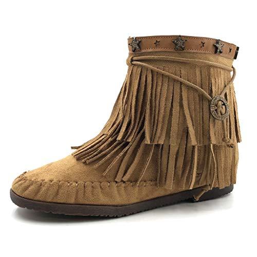 Angkorly - Damen Schuhe Stiefeletten - Western - Cowboy - Flexible - Fransen - Stern Flache Ferse 2...