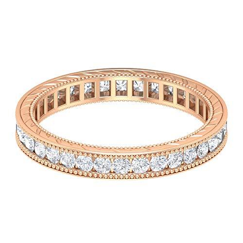 Piedra natal de abril – Anillo de aniversario de moissanita D-VSSI de 1,8 mm, 0,87 quilates, anillo de boda de eternidad completa, anillo de ajuste de canal, oro de 10 quilates. blanco