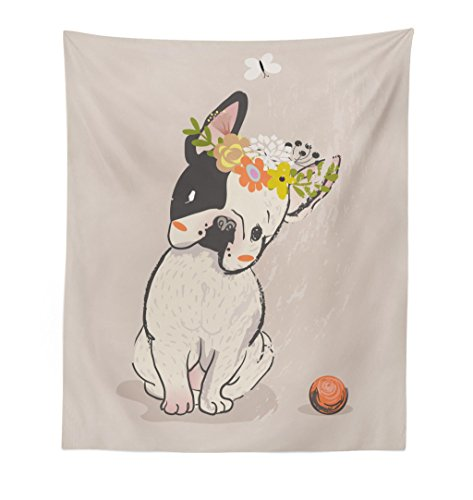 Lunarable Dog Tapestry, Hand Drawn French Bulldog Wreath on Its Head Watercolor Domestic Pet Illustration, Fabric Wall Hanging Decor for Bedroom Living Room Dorm, 23' X 28', Multicolor