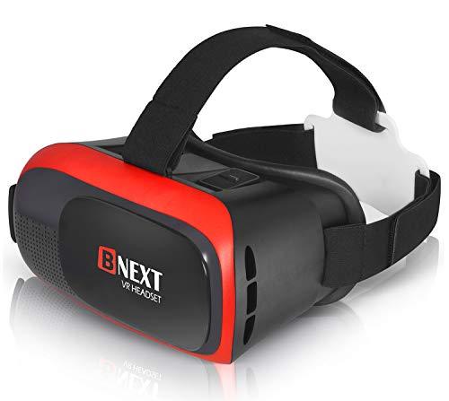 VR-Brille, Virtual Reality-Brille kompatibel mit iPhone & Android [3D Brille] - Erleben Sie Spiele und 360 Grad Filme in 3D mit weicher & komfortabler VR-Brille | Rot | mit Augenschutz